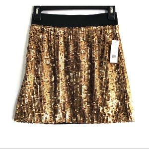NORDSTROM METALLIC GOLD SEQUIN MINI SKIRT SIZE XXS